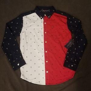 New Tommy Hilfiger  boys button up shirt Lg